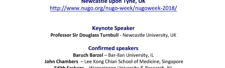 """NuGOweek 2018: """"Mitochondria, Nutrition and Health"""", 3-6 September 2018, Newcastle, UK"""